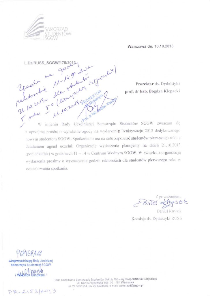 godziny rektorskie 21.10.2013