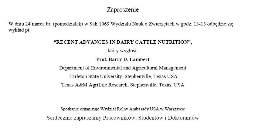 Zaproszenie Wydział Nauk O Zwierzętach