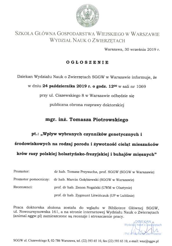 Ogłoszenie Piotrowski