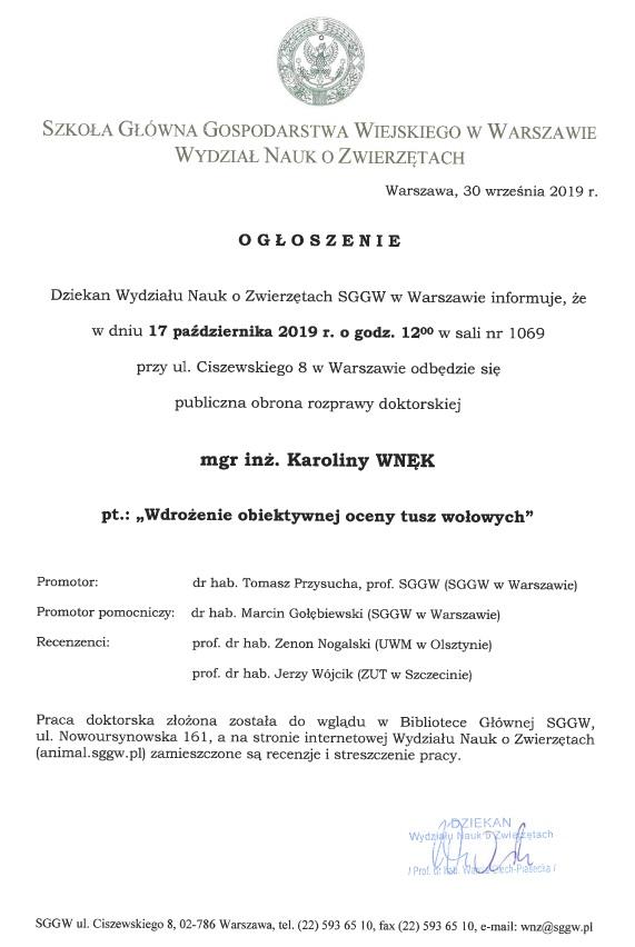 Ogłoszenie o obronie rozprawy doktorskiej Karoliny Wnęk
